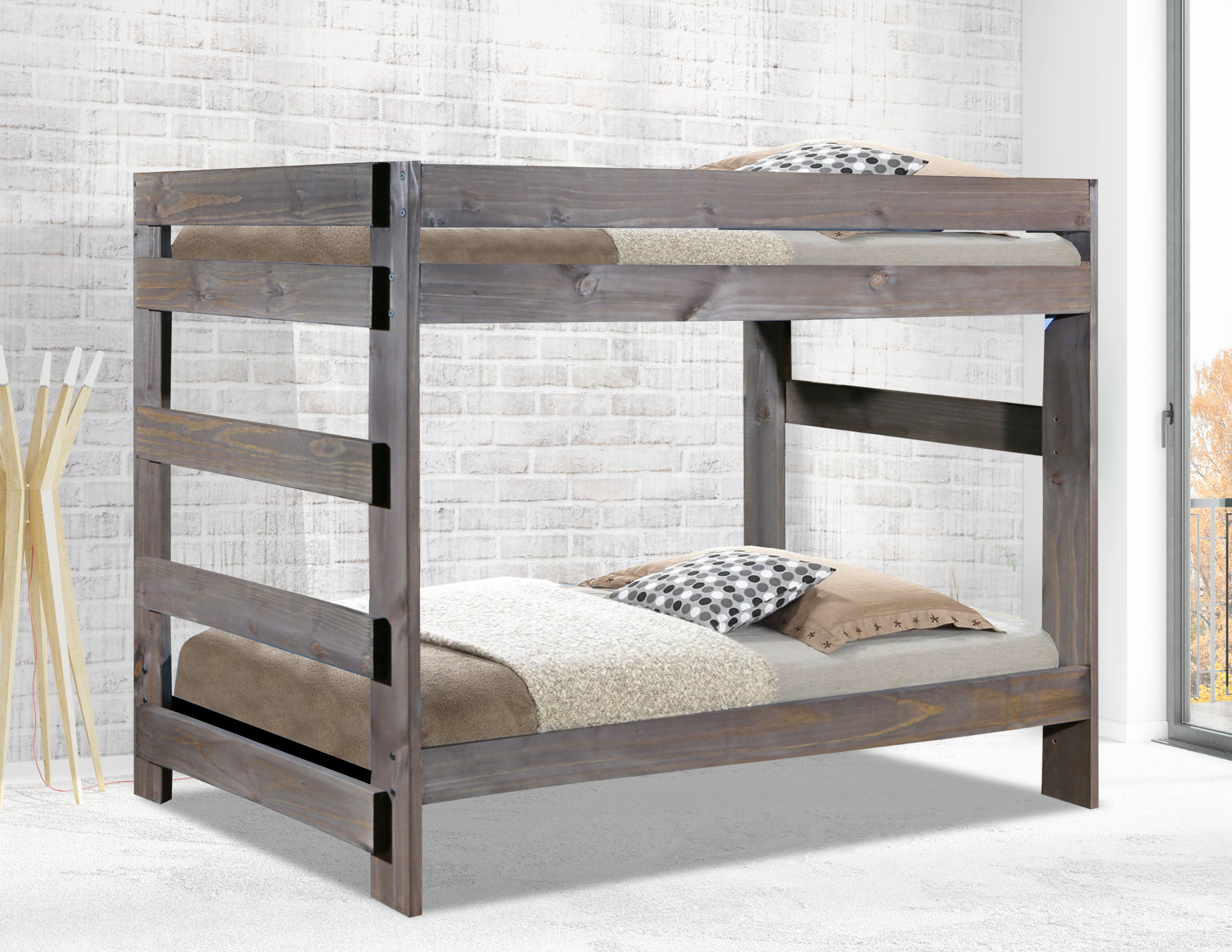 Twin One Piece Bunk Bed Shown In Barn Finish Roximate Embled Dimensions 80 L X 41 W 62 H Distance From Top Of Bottom Rail On To