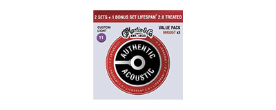 Martin MA535T Authentic Acoustic Treated Custom Light Strings Promo 3pk - 3 sets for the price of 2!