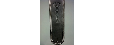 2.5 inch Martin black ball glove leather guitar strap with Martin guitar logo