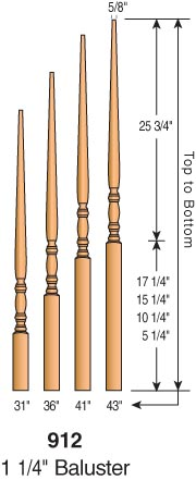 912 Classic Pin Top Balusters