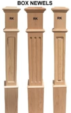 Raised Panel Box Newels, Fluted Box Newels, Recess Panels Box Newels and square wood  balusters.
