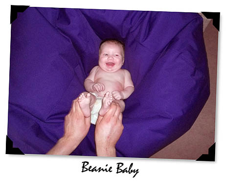 Purple beanbags