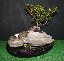 Illuminated Azalea Bonsai Waterfall Fountain