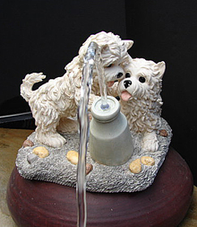 two puppy spitter water feature, fountain or pond spitter