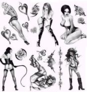 Temporary Black Ink Pin up Tattoos