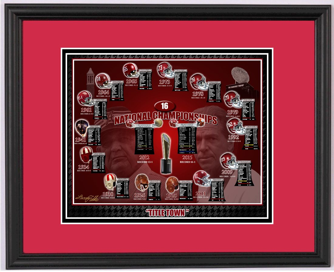 Alabama And Auburn Framed Prints Alabama Football 16